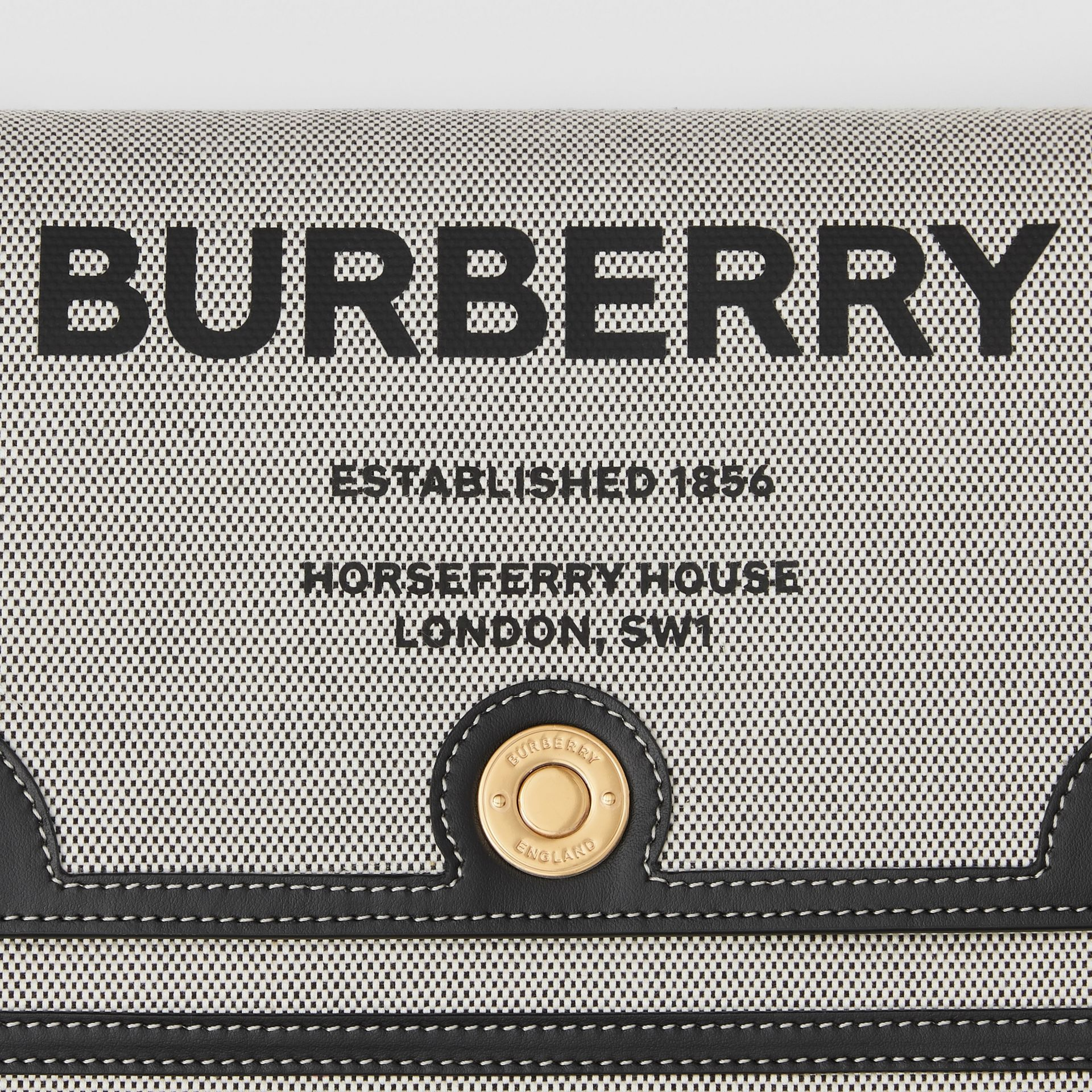 Horseferry Print Canvas Note Crossbody Bag in Black/black/tan - Women | Burberry - gallery image 1