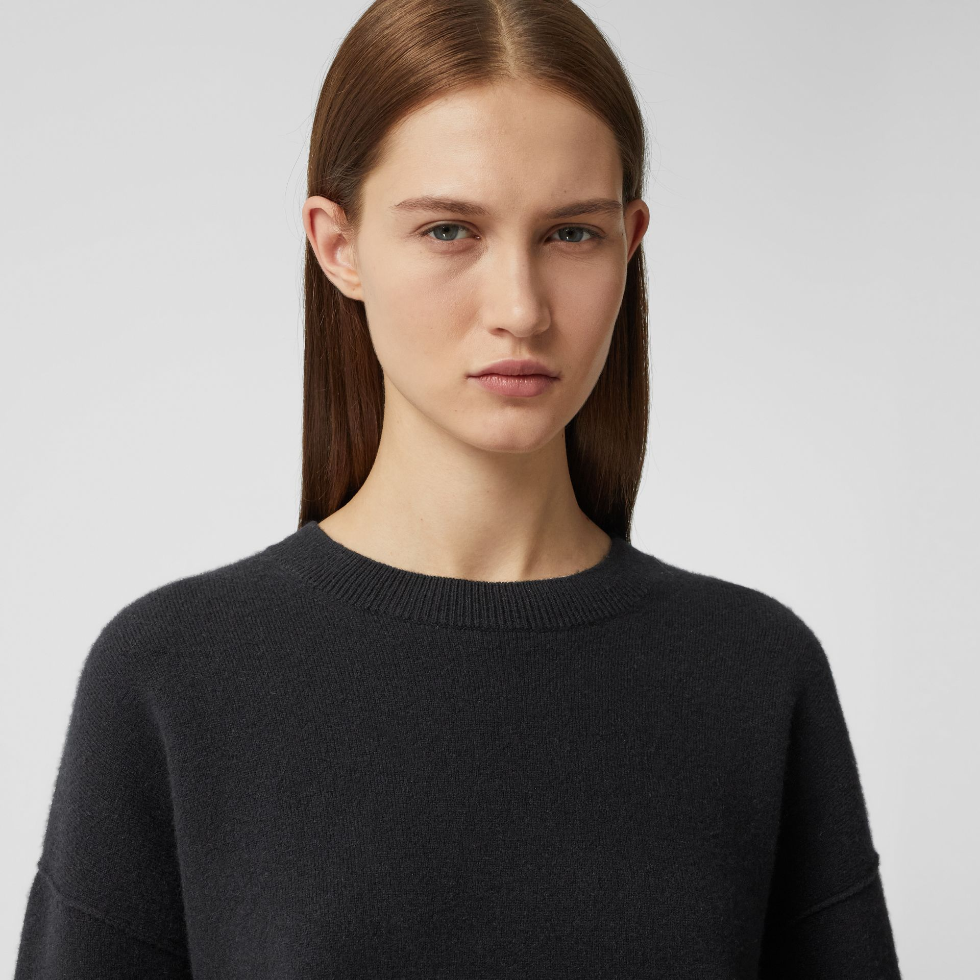 Monogram Motif Cashmere Blend Sweater in Black - Women | Burberry - gallery image 1