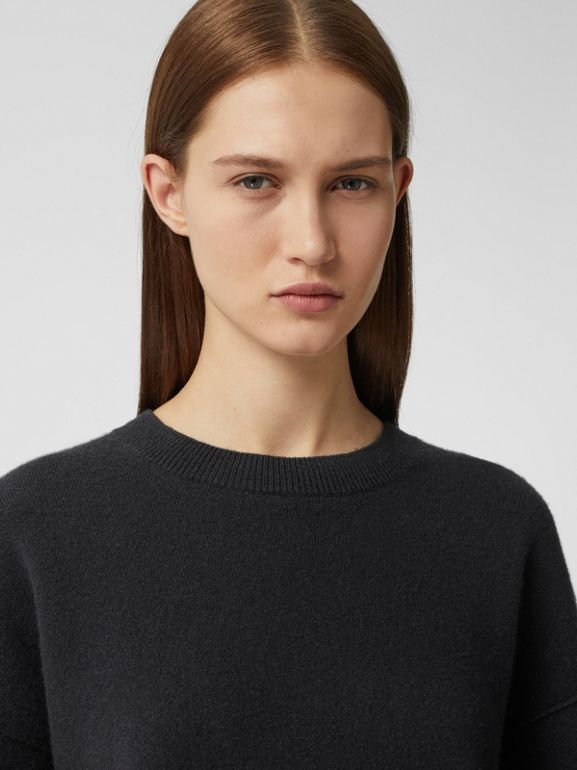 Monogram Motif Cashmere Blend Sweater in Black - Women | Burberry - cell image 1