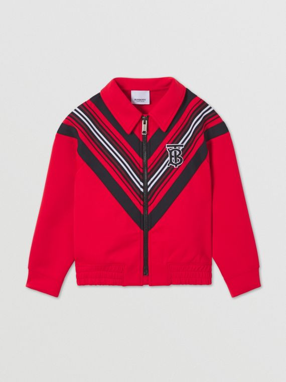 Monogram Motif Stretch Jersey Track Top in Bright Red