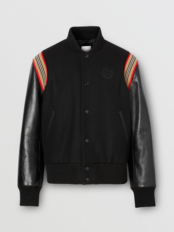 Icon Stripe Trim Wool Felt and Leather Bomber Jacket | Burberry United Kingdom - cell image 3