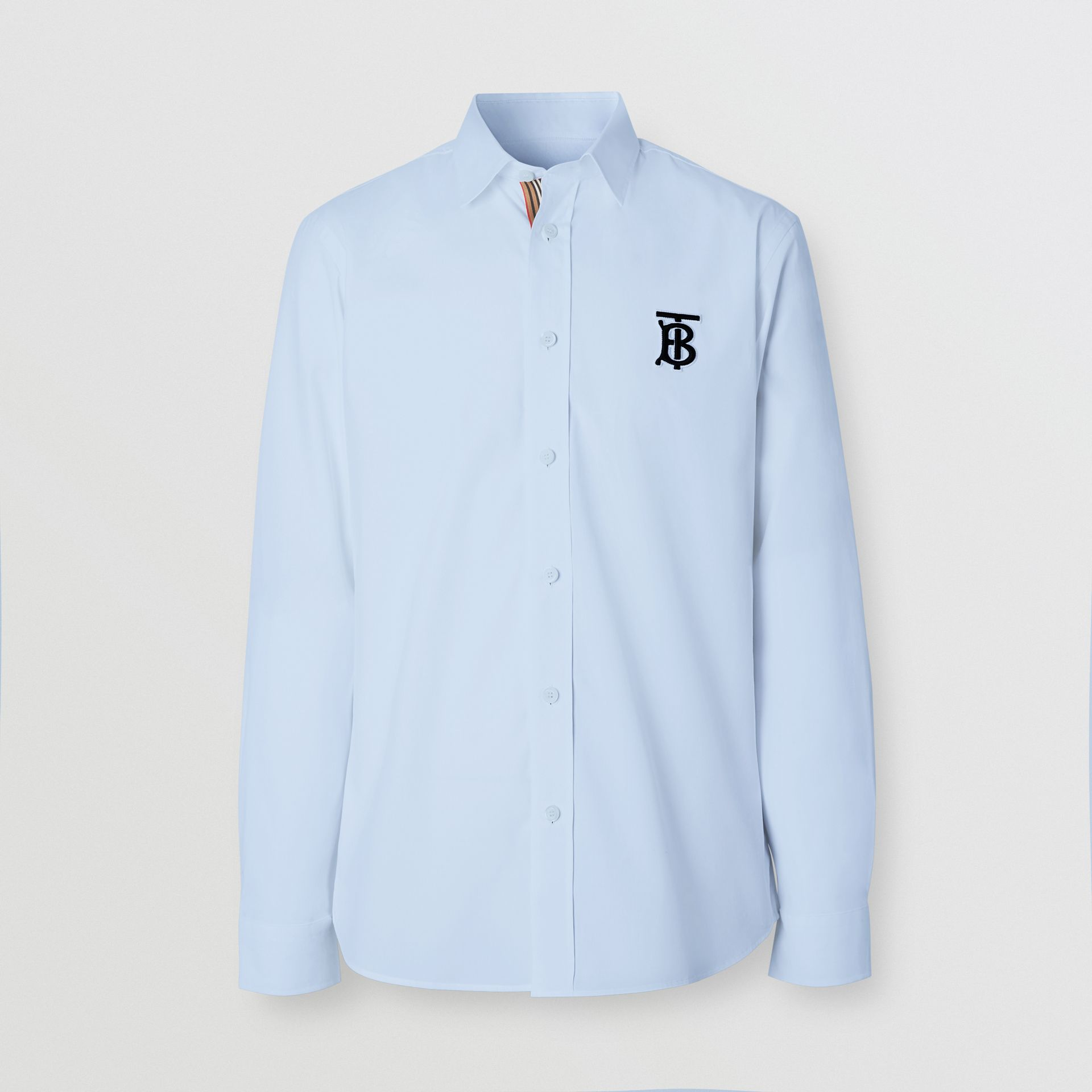 Embroidered Motifs Stretch Cotton Poplin Shirt in Pale Blue - Men | Burberry - gallery image 3