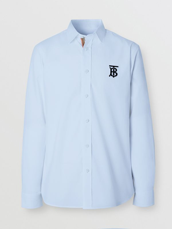 Embroidered Motifs Stretch Cotton Poplin Shirt in Pale Blue - Men | Burberry - cell image 3