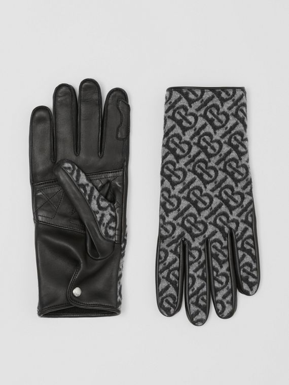 Cashmere-lined Monogram and Lambskin Gloves in Grey
