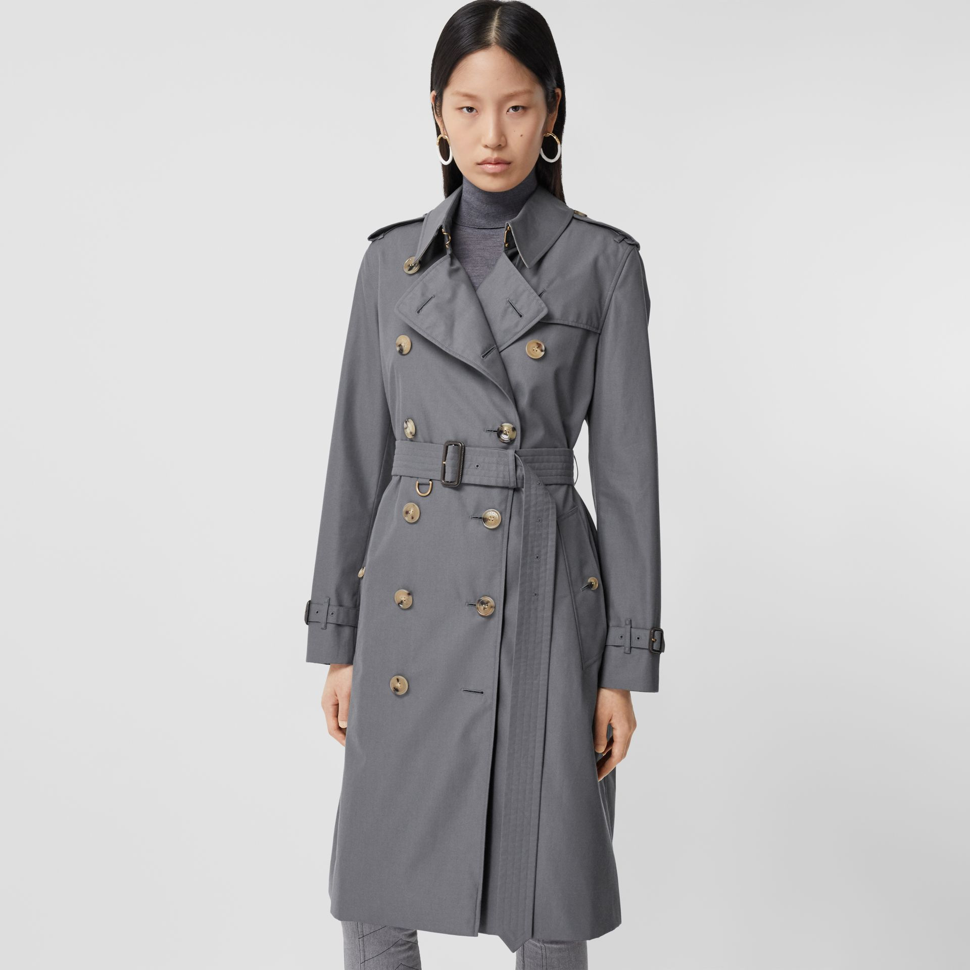 Cotton Gabardine Long Trench Coat in Mid Grey - Women | Burberry - gallery image 4