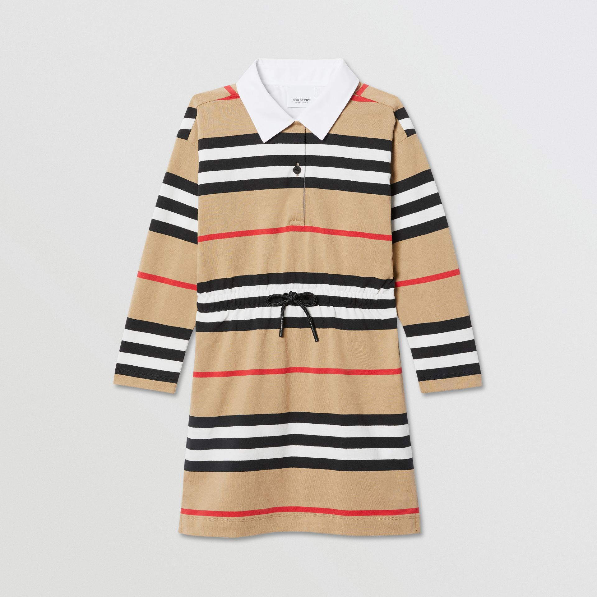 Long-sleeve Icon Stripe Cotton Dress in Archive Beige | Burberry United Kingdom - gallery image 0