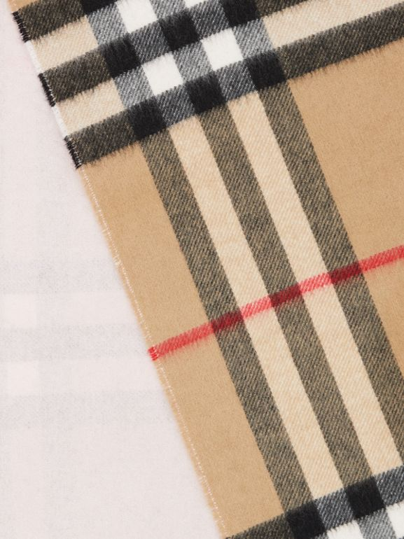 Reversible Check Cashmere Scarf in Frosted Pink | Burberry Canada - cell image 1