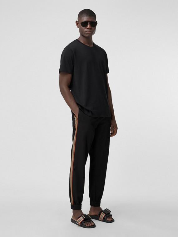 Stripe Detail Technical Wool Jogging Pants in Black