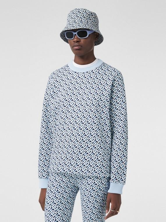 Monogram Print Cotton Oversized Sweatshirt in Cobalt Blue
