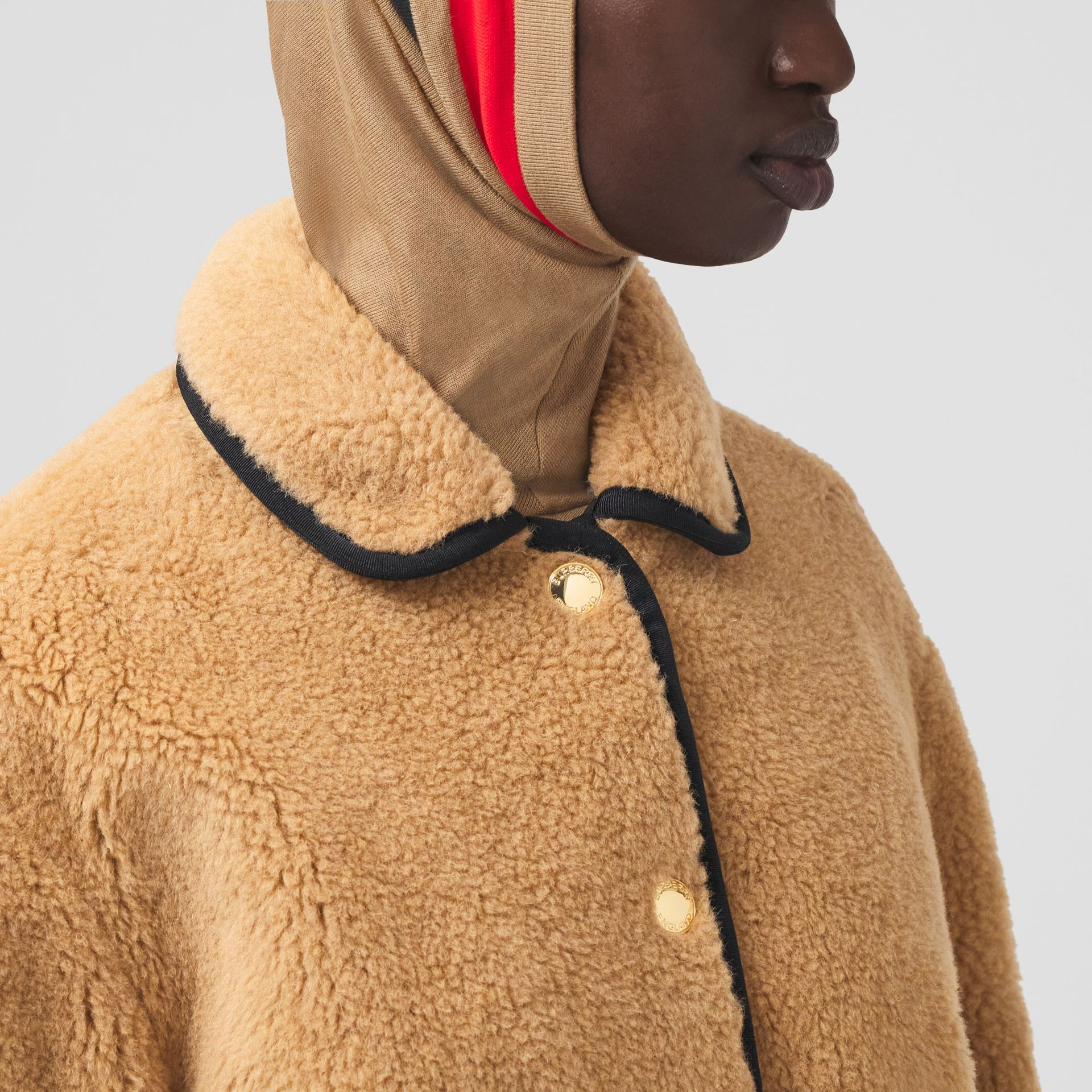 Stripe Intarsia Fleece Jacket in Light Camel - Women | Burberry Canada - gallery image 1