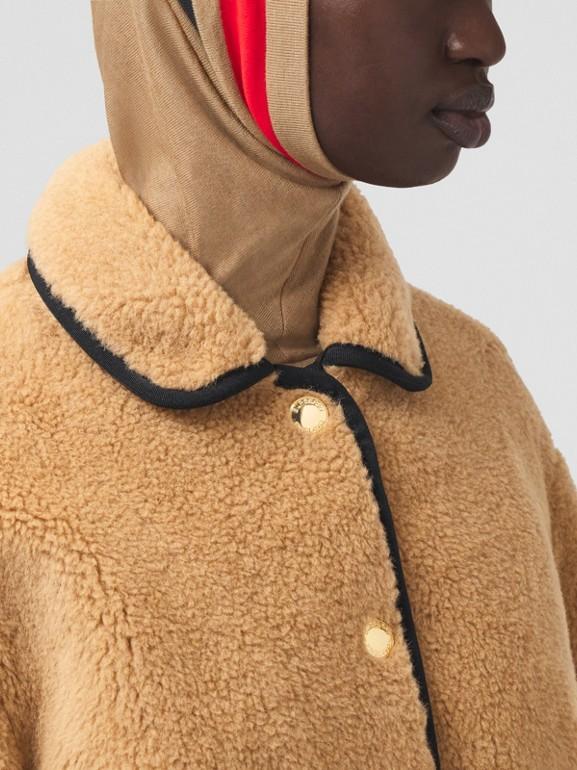 Stripe Intarsia Fleece Jacket in Light Camel - Women | Burberry - cell image 1