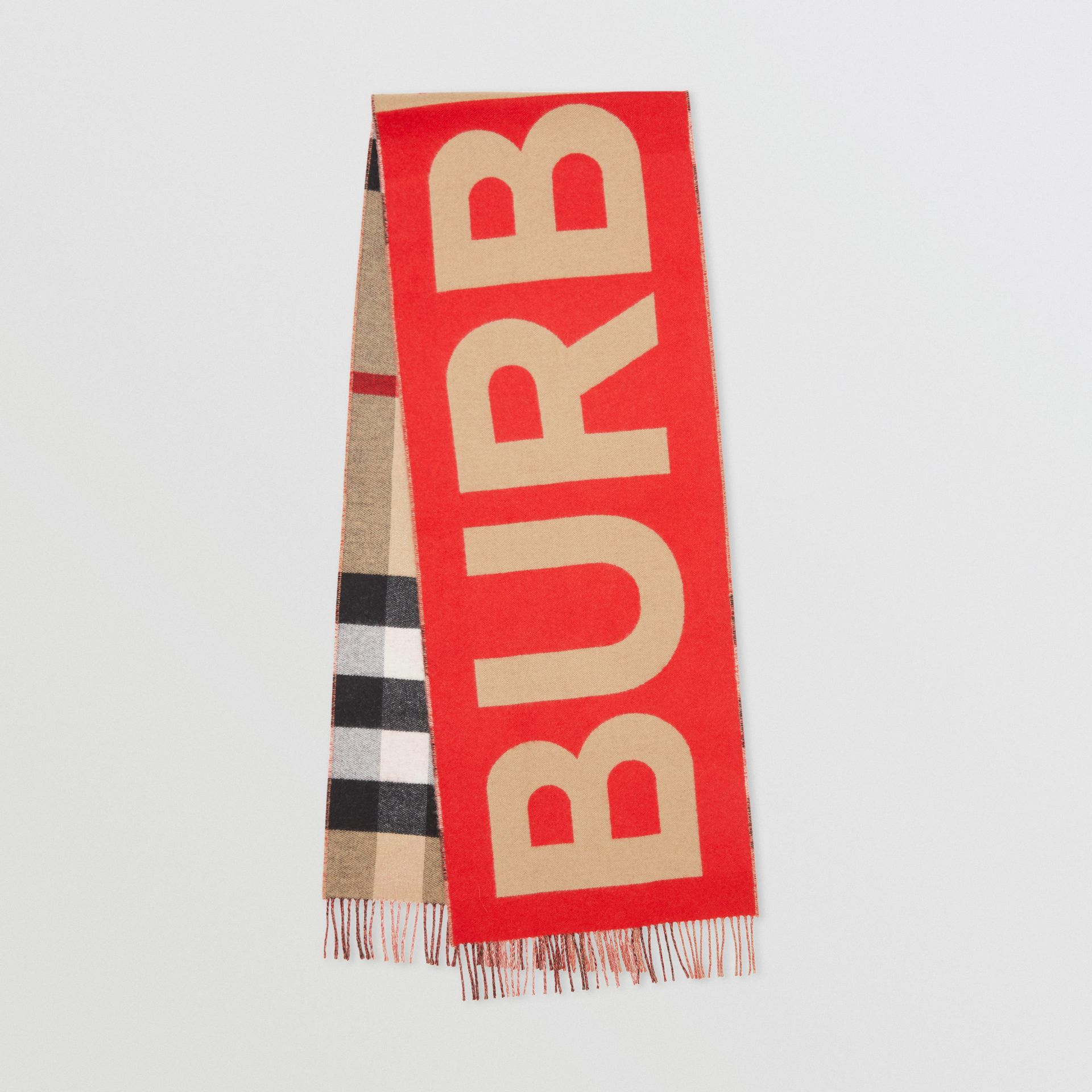 Reversible Check and Logo Cashmere Scarf in Archive Beige | Burberry - gallery image 0