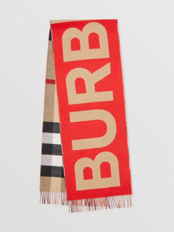 Reversible Check and Logo Cashmere Scarf in Archive Beige