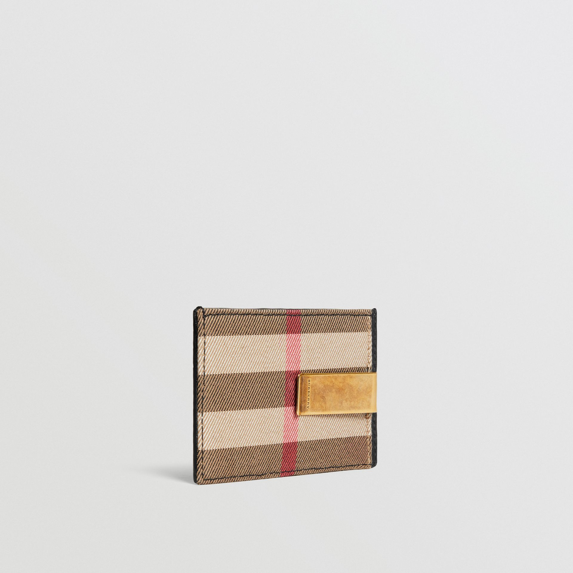 House Check and Leather Money Clip Card Case in Black - Men | Burberry - gallery image 3