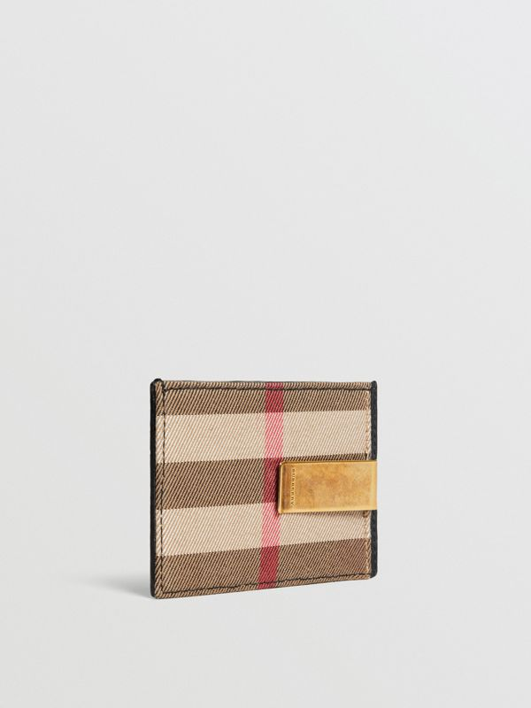 House Check and Leather Money Clip Card Case in Black - Men | Burberry - cell image 3