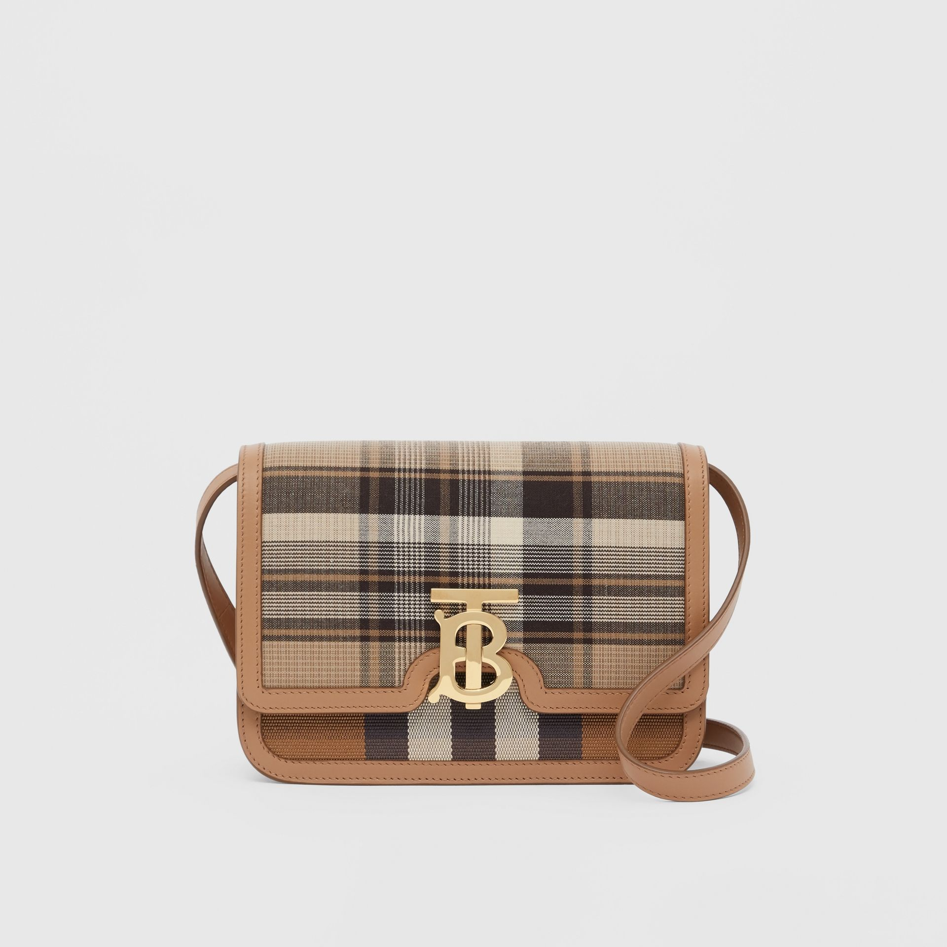 Small Tartan Wool and Leather TB Bag in Light Fawn - Women | Burberry Australia - gallery image 0
