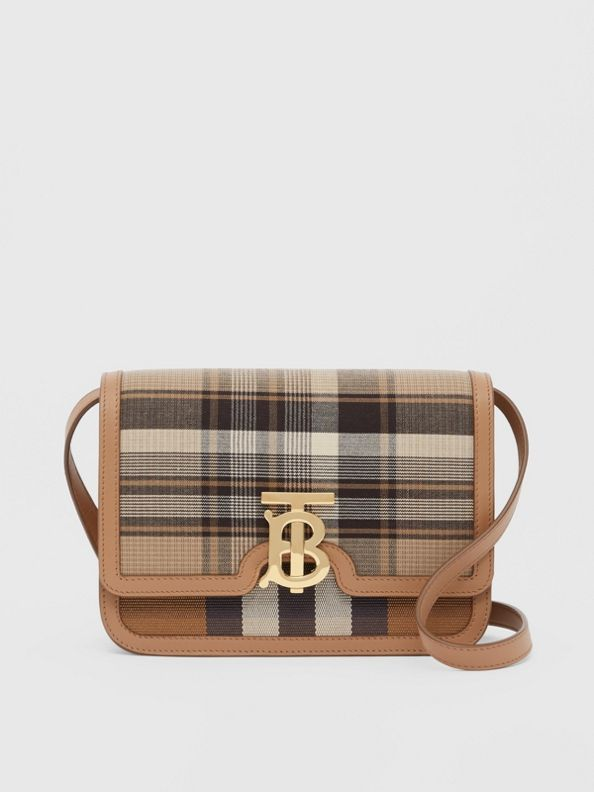 Small Tartan Wool and Leather TB Bag in Light Fawn