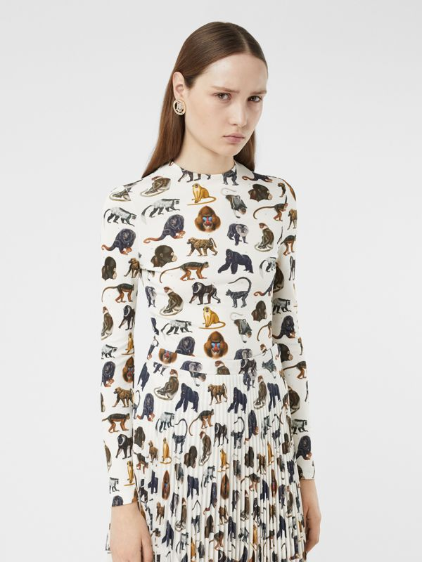 Monkey Print Crepe De Chine Pleated Skirt in White | Burberry United Kingdom - cell image 3