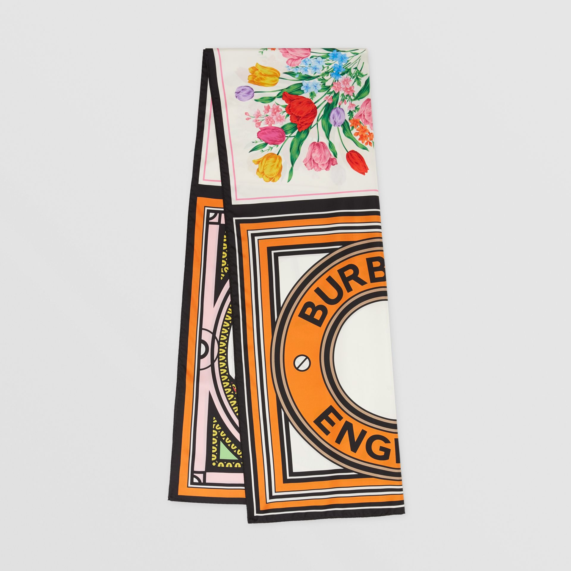 Montage Print Silk Scarf in Bright Orange | Burberry - gallery image 0