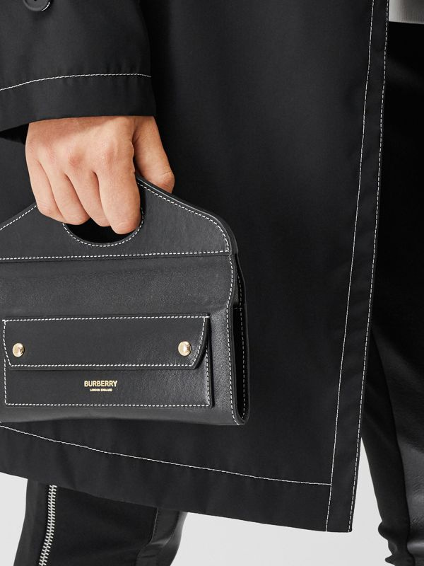 Mini Topstitched Lambskin Pocket Clutch in Black | Burberry - cell image 2