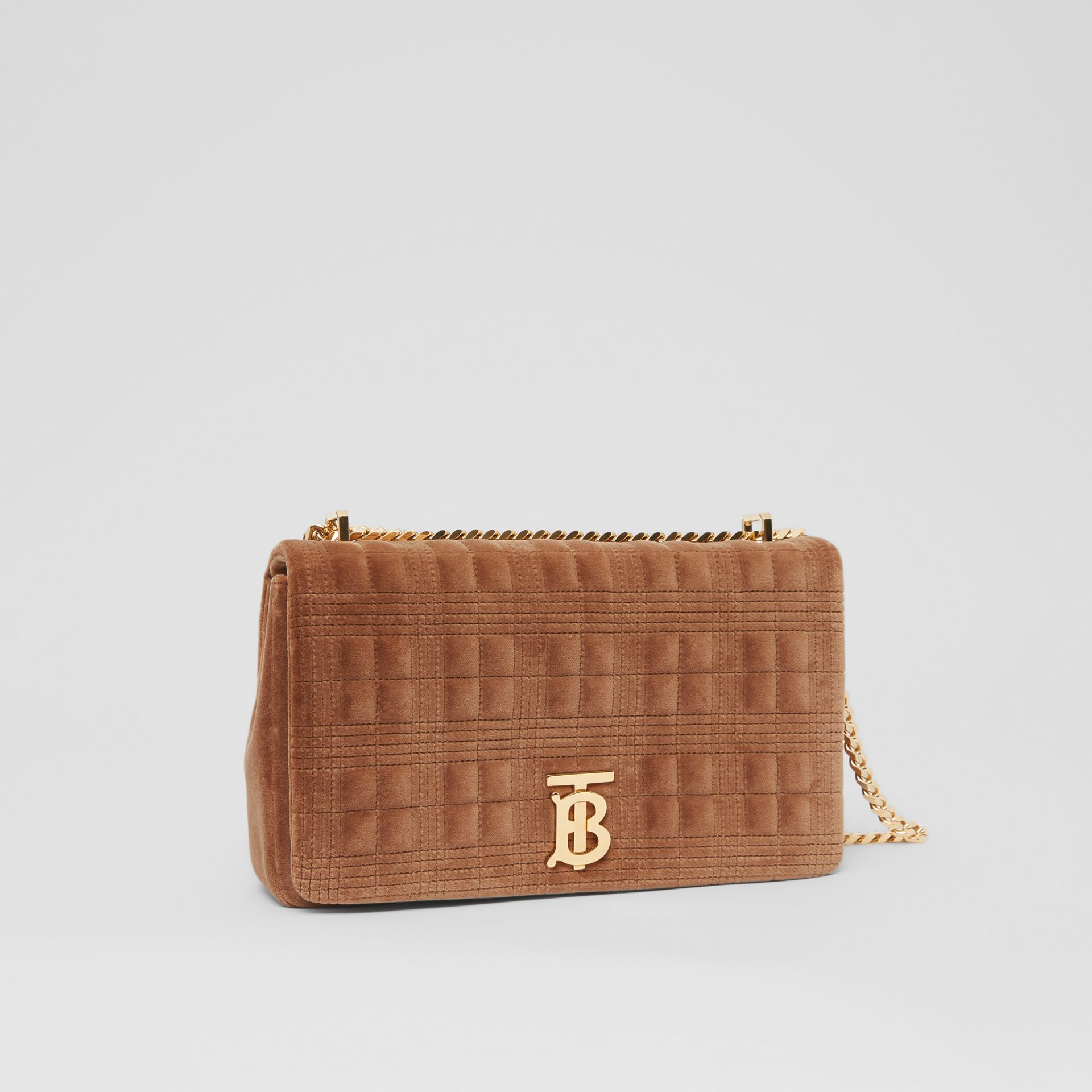 Medium Quilted Velvet Lola Bag in Fawn - Women | Burberry United Kingdom - gallery image 6