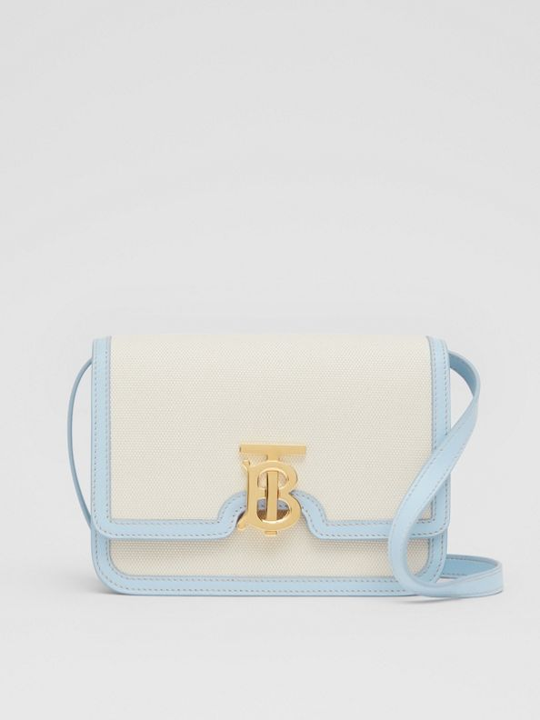 Small Two-tone Canvas and Leather TB Bag in Natural/pale Blue