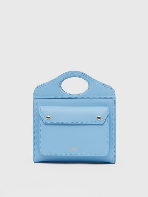 Mini Leather Pocket Bag in Blue Topaz