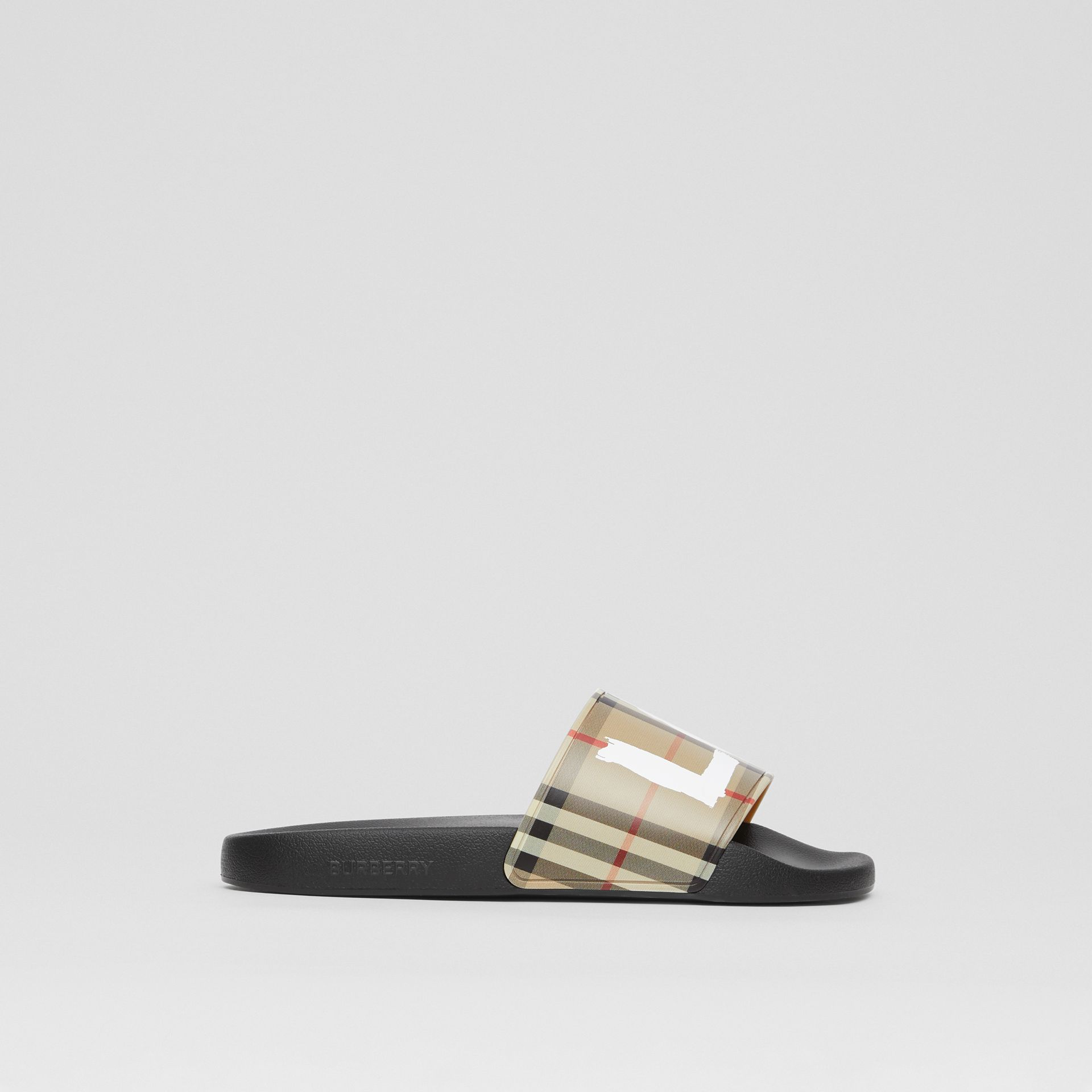 Love Print Vintage Check Slides in Archive Beige - Women | Burberry - gallery image 5