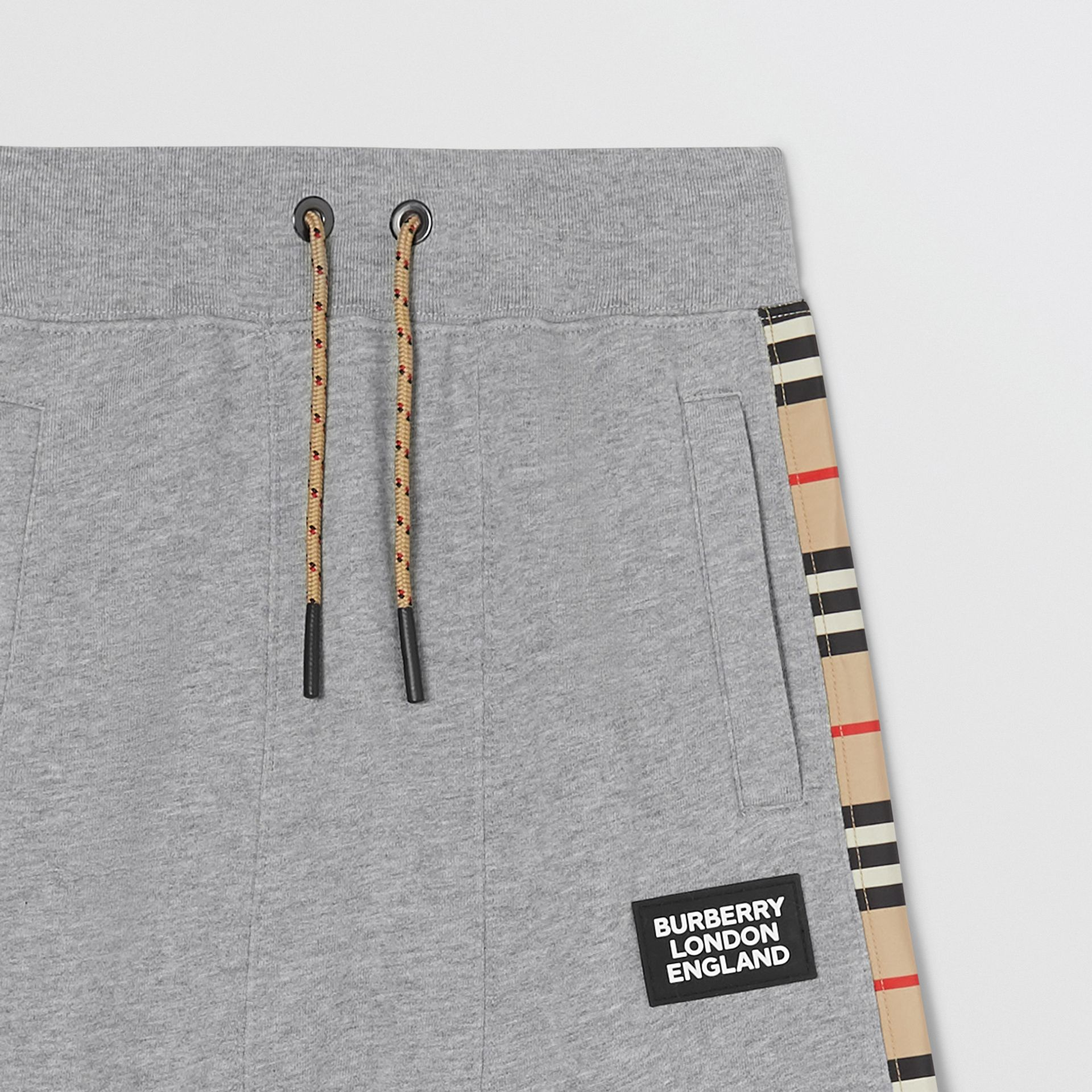 Icon Stripe Panel Cotton Trackpants in Grey Melange | Burberry United Kingdom - gallery image 3