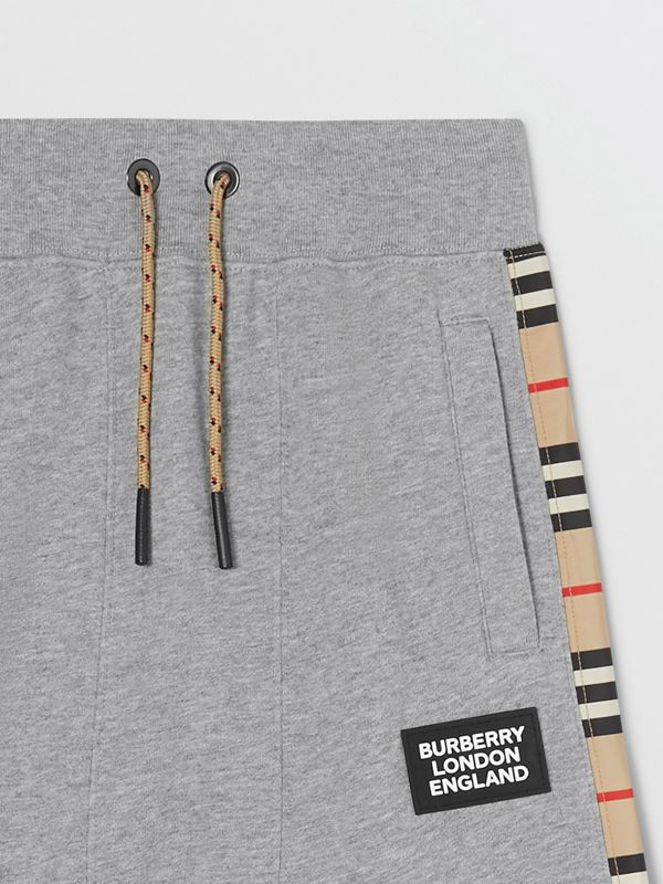 Icon Stripe Panel Cotton Trackpants in Grey Melange | Burberry United Kingdom - cell image 3
