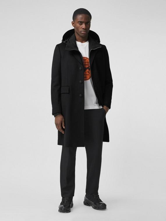 Cappotto sartoriale in lana e cashmere con bottoni (Nero)