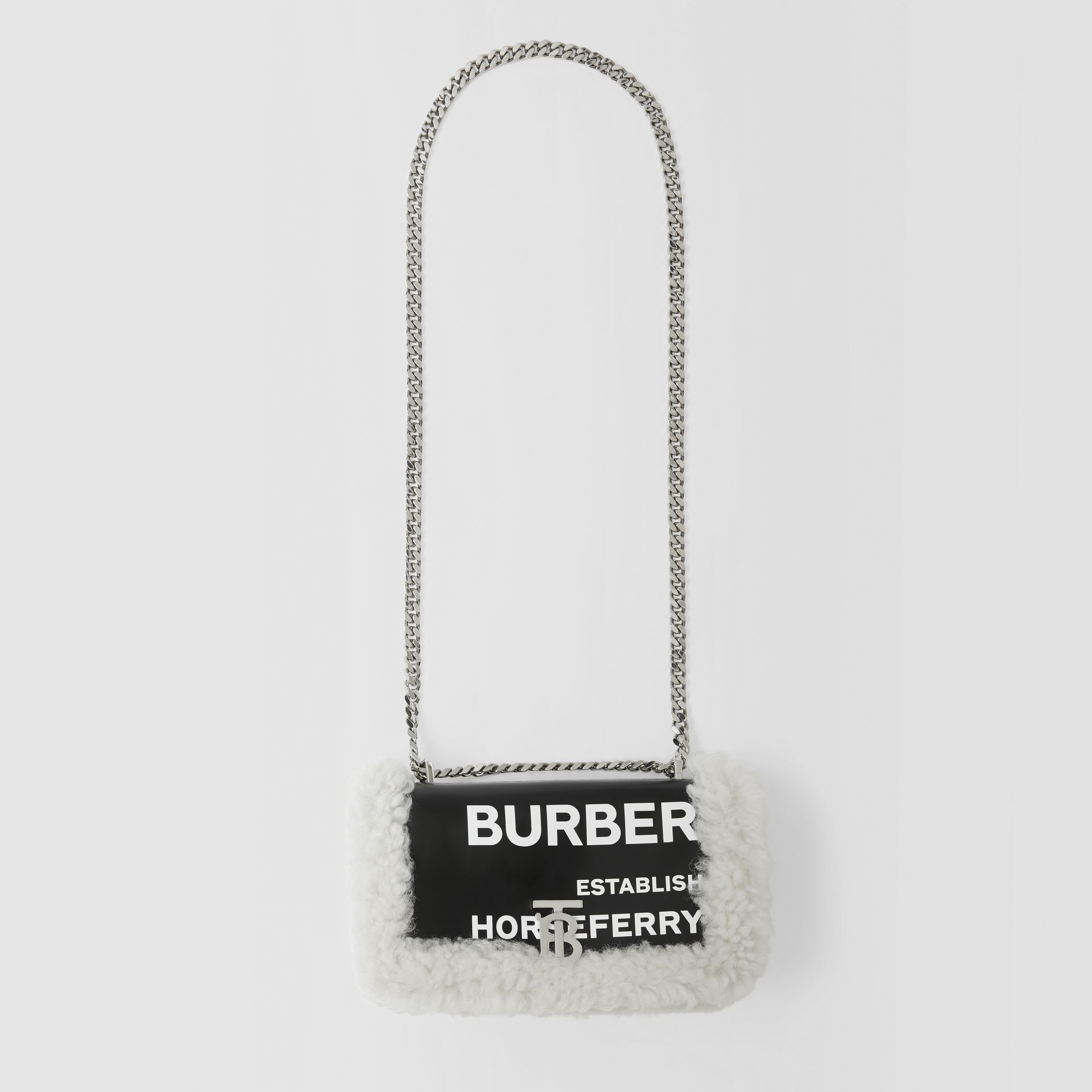 Small Horseferry Print Coated Canvas and Shearling Lola Bag in Black - Women | Burberry United Kingdom - gallery image 3