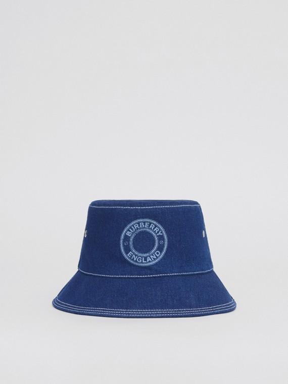 Logo Graphic Topstitched Denim Bucket in Dark Canvas Blue
