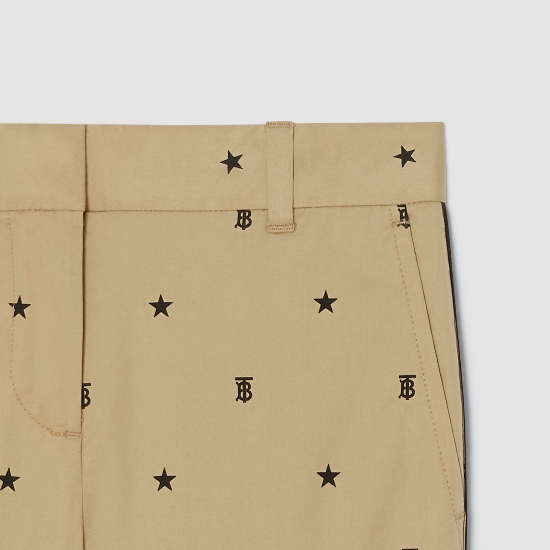 Star and Monogram Motif Stretch Cotton Trousers in Sand | Burberry - gallery image 4