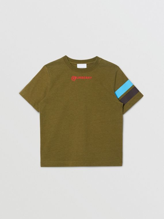 Logo and Stripe Print Cotton T-shirt in Khaki Green Melange