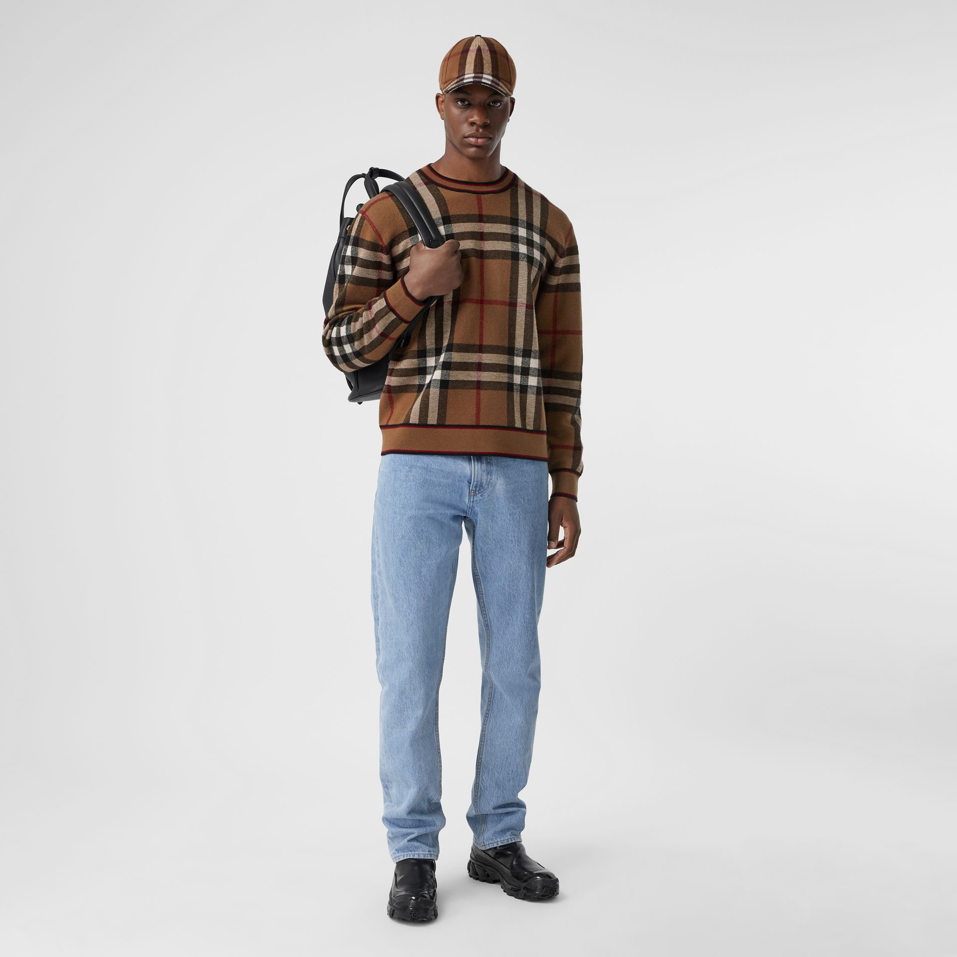 Check Merino Wool Jacquard Sweater in Birch Brown - Men | Burberry - gallery image 5