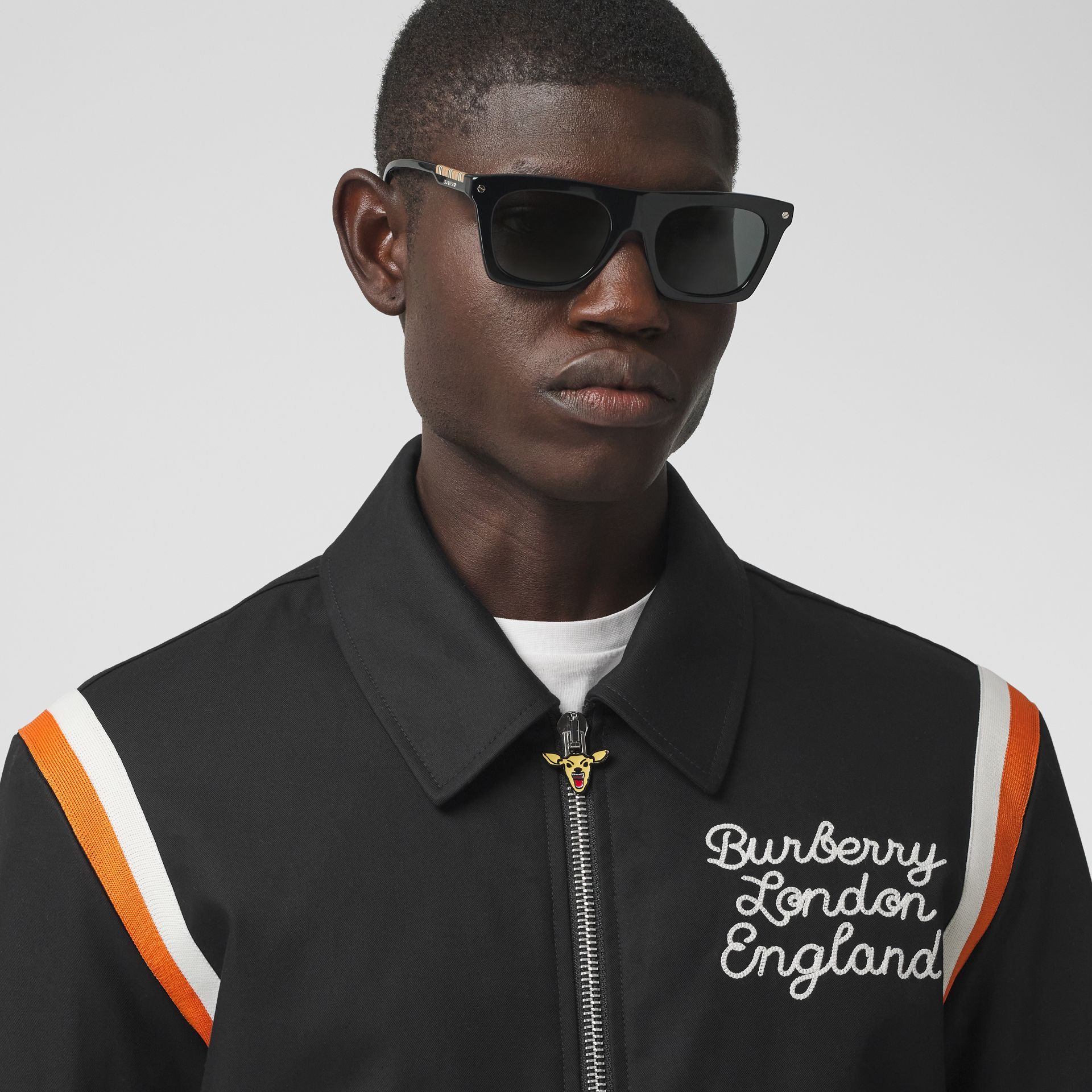 Embroidered Logo Cotton Gabardine Bomber Jacket in Black - Men | Burberry - gallery image 1