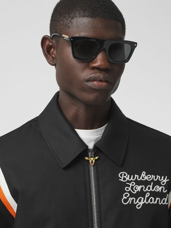 Embroidered Logo Cotton Gabardine Bomber Jacket in Black - Men | Burberry - cell image 1