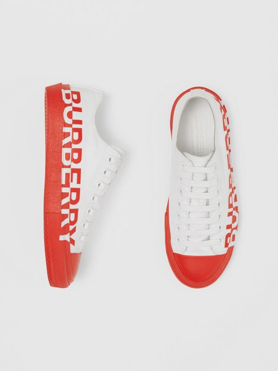 Logo Print Two-tone Cotton Gabardine Sneakers in Optic White/bright Red