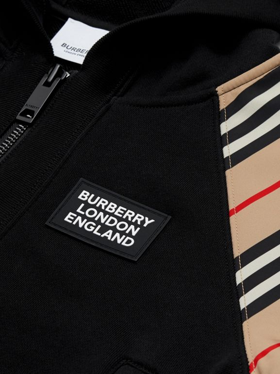 Icon Stripe Panel Cotton Hooded Top in Black | Burberry United Kingdom - cell image 1