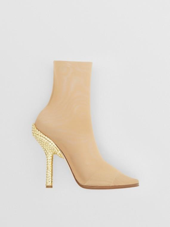 Paillette-embellished Heel Stretch Tulle Sock Boots in Beige/gold