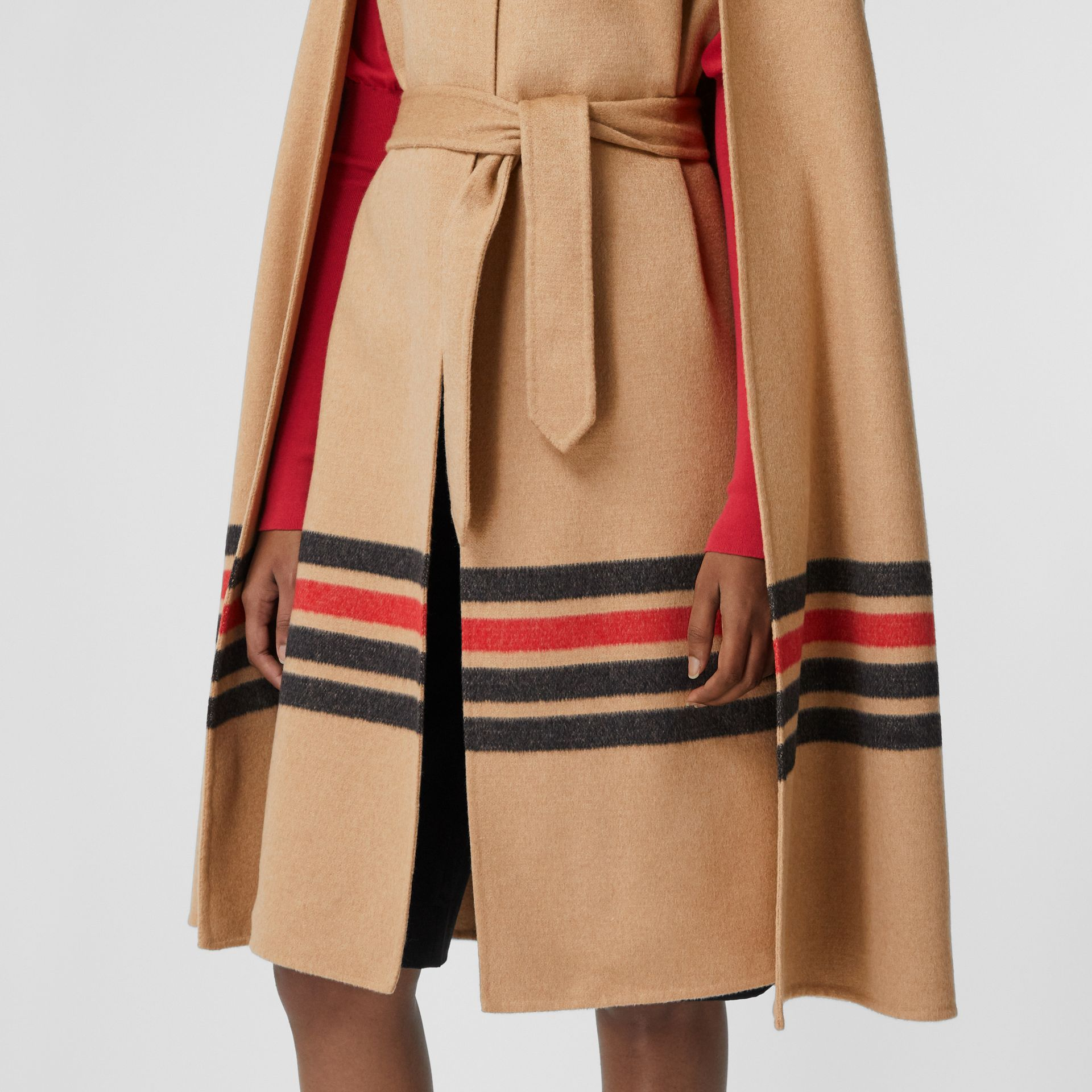 Stripe Detail Double-faced Cashmere Cape in Light Camel - Women | Burberry - gallery image 4