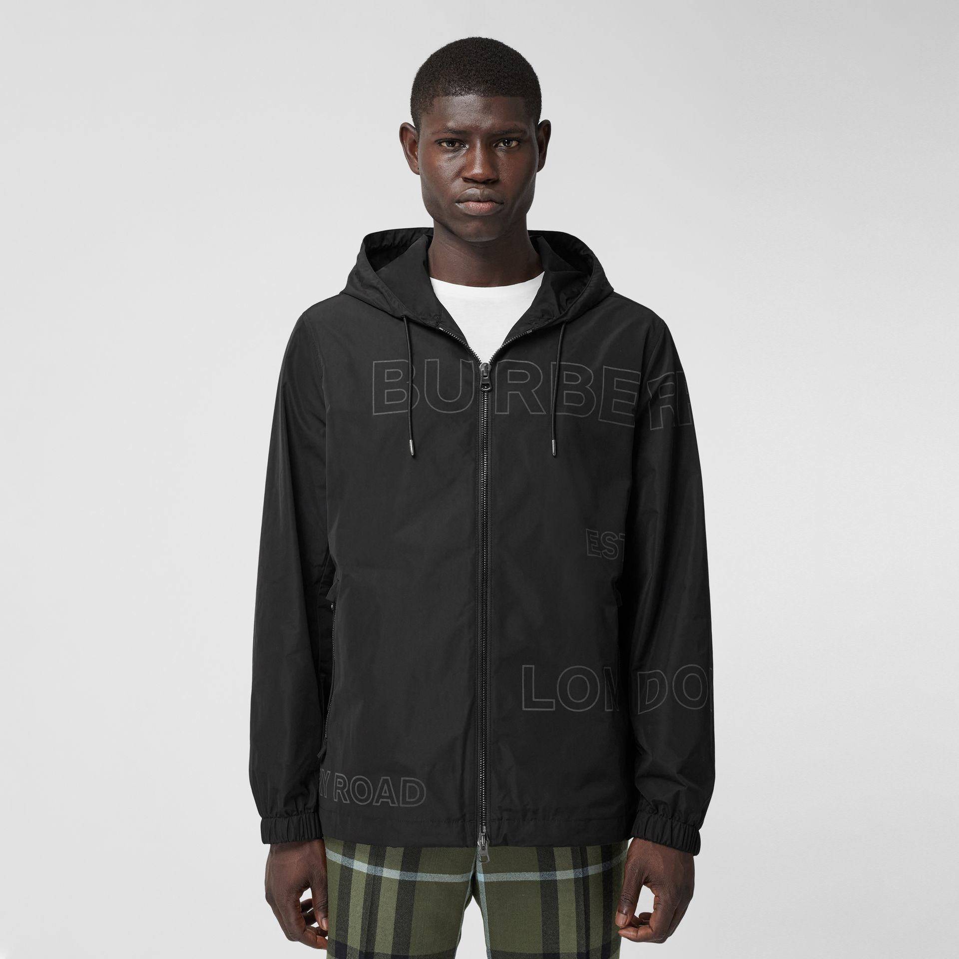 Horseferry Print Shape-memory Taffeta Hooded Jacket in Black - Men | Burberry - gallery image 6