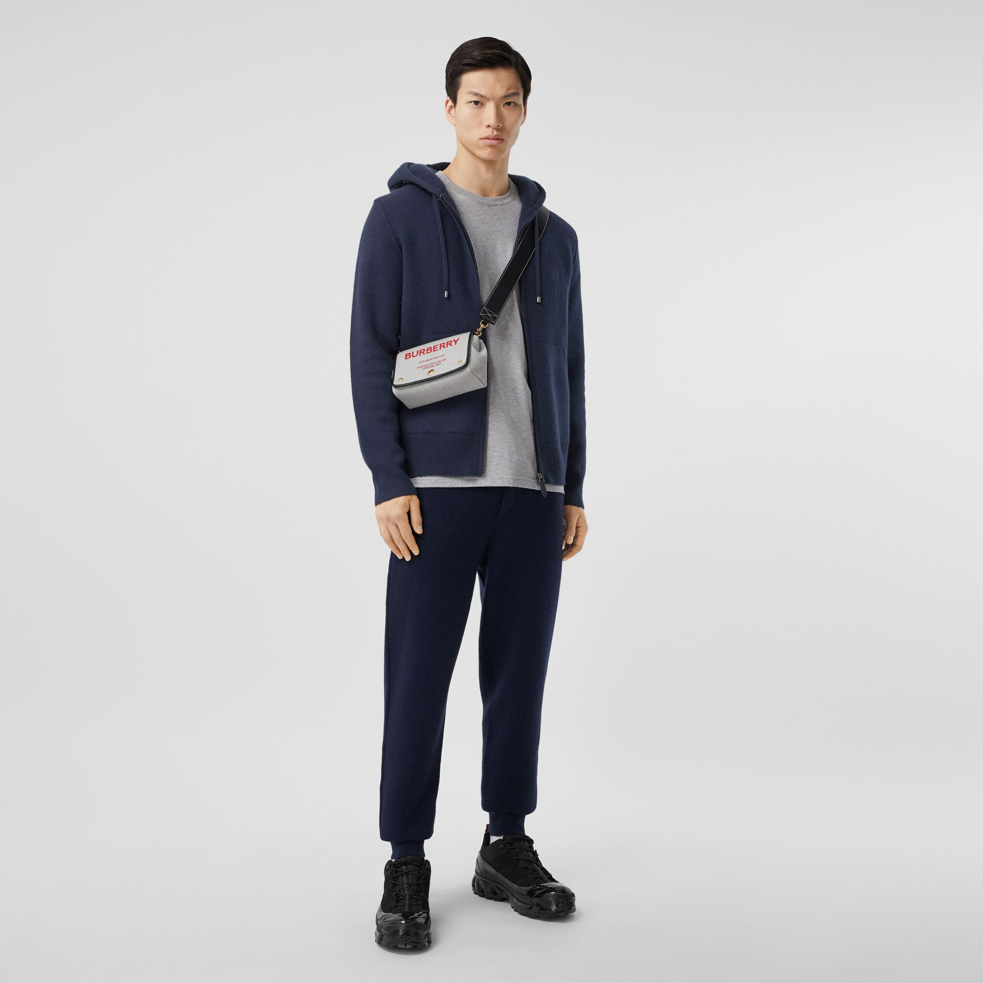 Monogram Motif Cashmere Blend Hooded Top in Navy - Men | Burberry - gallery image 4