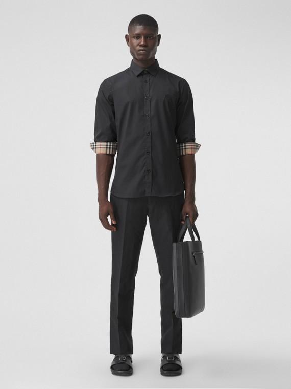 Slim Fit Monogram Motif Stretch Cotton Poplin Shirt in Black