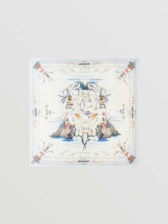 Foulard grande in cashmere con motivo marino (Bianco)