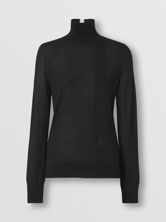 Monogram Motif Wool Silk Blend Funnel Neck Sweater in Black