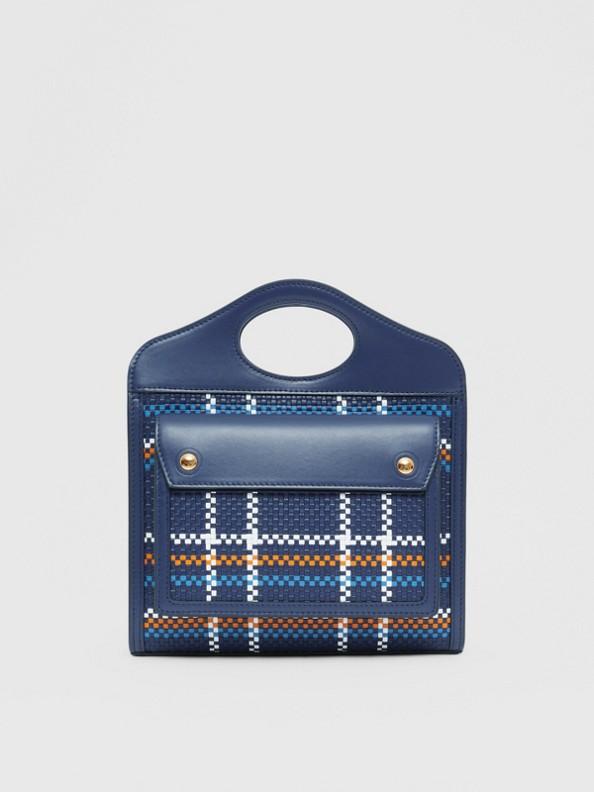 Mini Latticed Leather Pocket Bag in Blue/white/orange