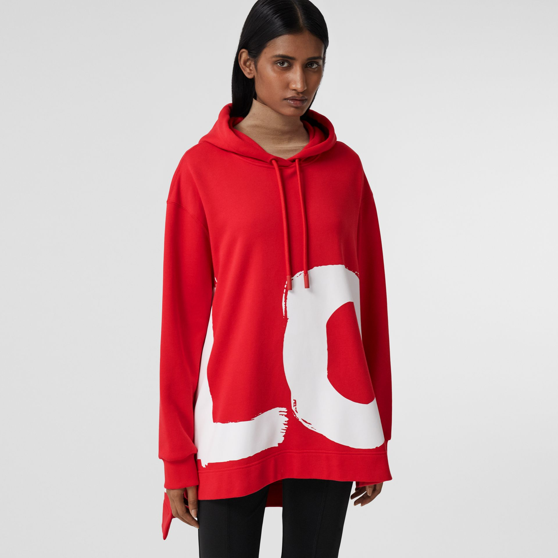 Love Print Cotton Oversized Hoodie in Bright Red - Women | Burberry - gallery image 0