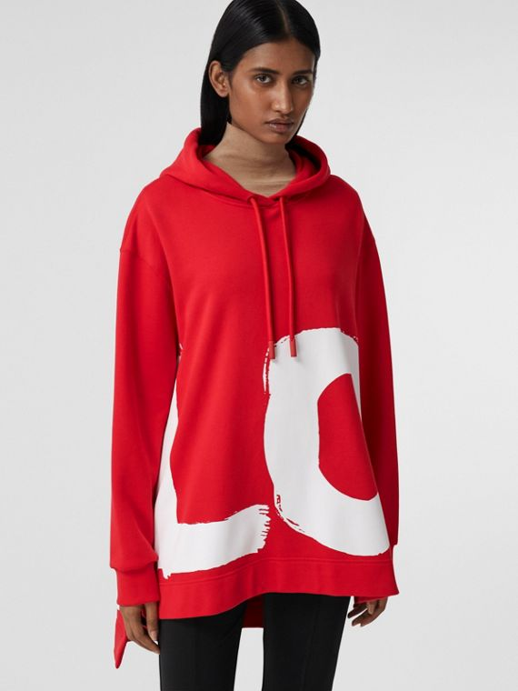 Love Print Organic Cotton Oversized Hoodie in Bright Red